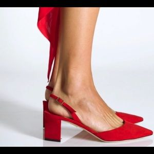 "Tamara Mellon ""Liaison""Red Swede Sling Heels 37 -7"